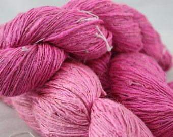 Handspun Recycled Mulberry Silk - Lippy Pink