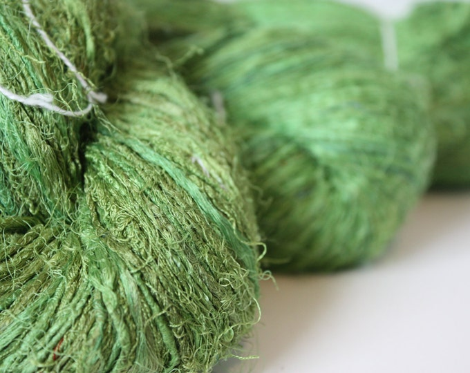 Handspun Recycled Mulberry Silk - Grasshopper