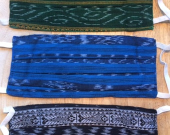Adult  Face Masks - Double thickness Cotton Ikat Weave