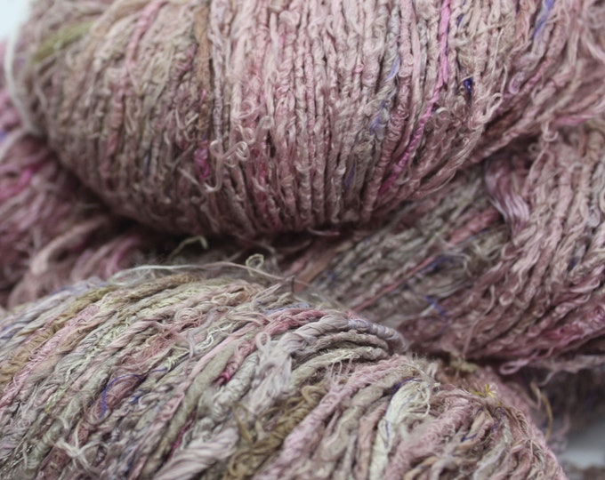 NEW***Handspun Recycled Mulberry Silk - Rose & Taupe