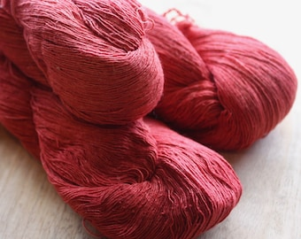 7/1 Handmade Mulberry Noil Silk  - Natural Plant Dyed - Melon Red - Madder Seeds