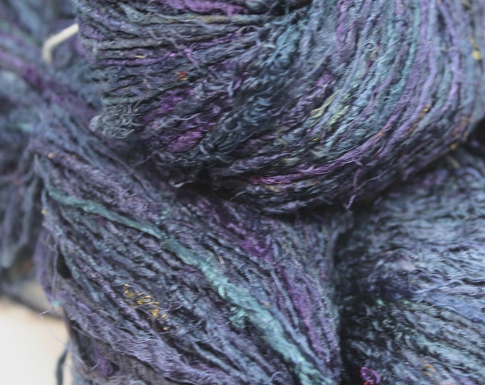 NEW***Handspun Recycled Mulberry Silk - Ink Blue