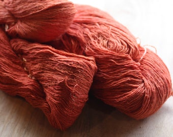 7/1 Handmade Mulberry Noil Silk  - Natural Plant Dyed - Orange Annato Seeds