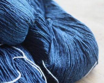7/1 Handmade Mulberry Noil Silk  - Dk Indigo Blue