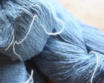 7/1 Handmade Mulberry Noil Silk  - Lt Indigo Blue