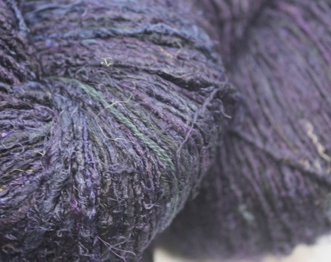 NEW***Handspun Recycled Mulberry Silk - Blackberry
