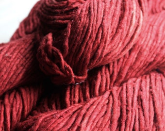 2.5/1 Handmade Mulberry Noil Silk Yarn - Madder