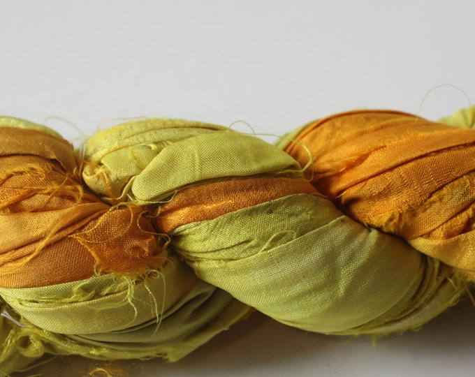 Hand Dyed Double Colour Recycled Sari Silk Ribbon - 'Sunshine'