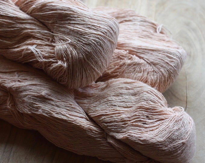 7/1 Handmade Mulberry Noil Silk  - Natural Plant Dyed - Blush