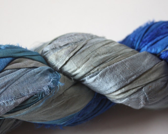 Hand Dyed Double Colour Recycled Sari Silk Ribbon - 'Frozen'