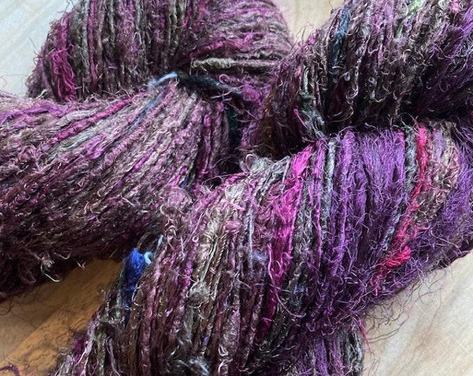 Handspun Recycled Mulberry Silk - Brown/Burgandy