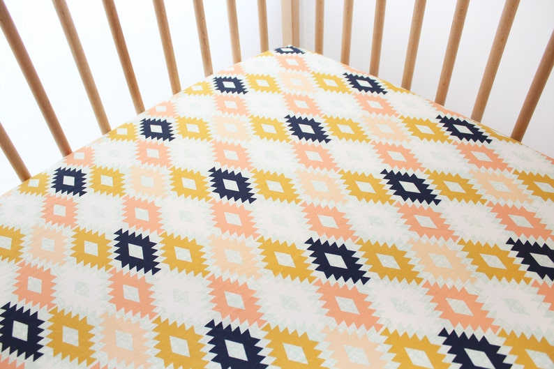 Tribal Native Fitted Crib Sheets Girl, Girl Aztec Nursery Bedding