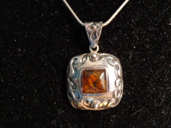 78414a113 Sterling Silver and Orange Amber Pendant with 22 Snake | Etsy