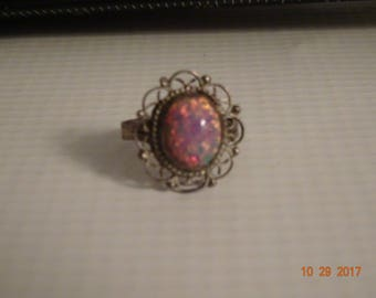 Sterling Silver and Dichroic Glass Ring - size 4 1/2