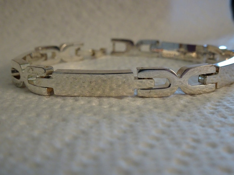 Sterling Silver Long Dash and X Link Bracelet-7 3/8