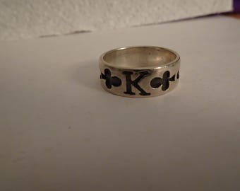 Men's Sterling Silver King of Clubs Band Ring - 9 1/2