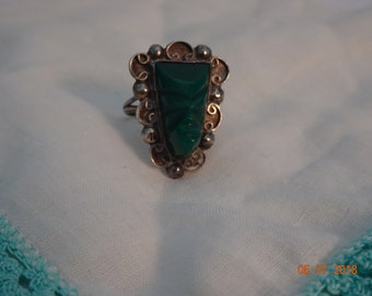 Sterling Silver and Green Onyx Aztec Warrior Ring - size 6
