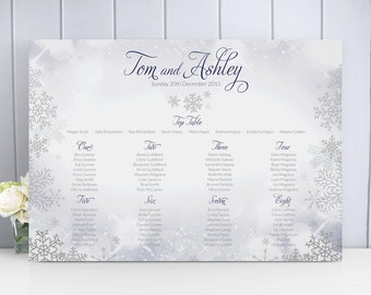 Snowflake / Winter / Christmas Wedding Table Plan