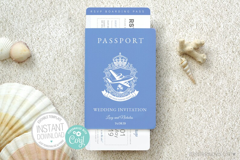 Passport Style Printable Wedding Invitation And Rsvp Card A6 Destination Wedding Instant Download Editable Template