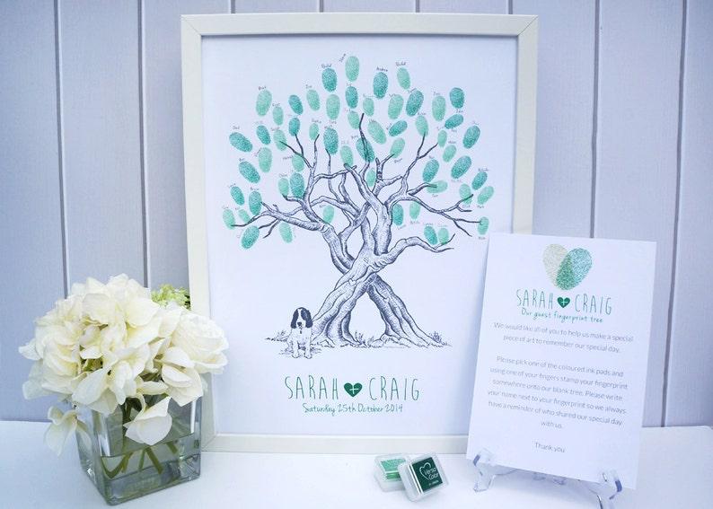 Custom Pet Wedding Fingerprint Tree Guestbook image 0
