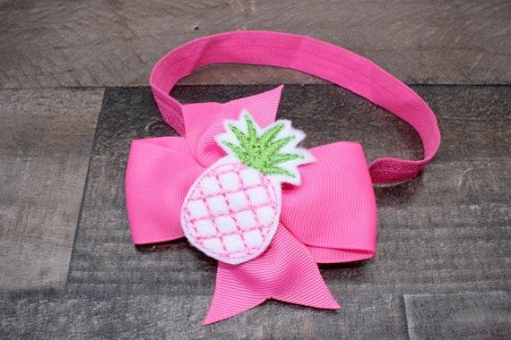 set of 2 nylon headband baby shower gift pineapple sailor bow flamingo accessory Flamingo sailor bow baby girl bows flamingo headband