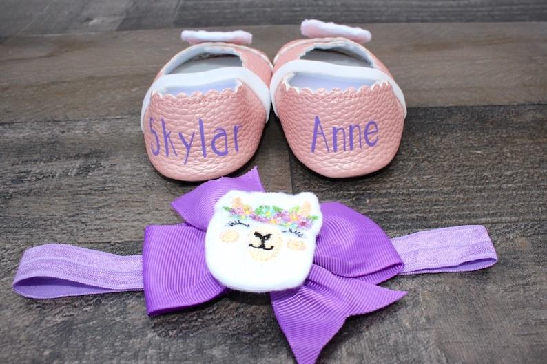 Cake Smash Monogrammed Llama Baby Girl Ballet Flats Gold Toddler Purple First Birthday Pink Shower Gift First Walker Shoes