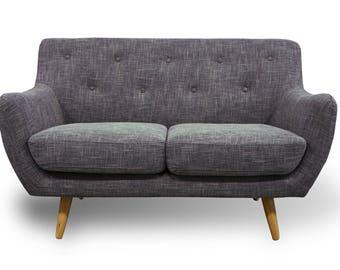 2 Seater Sofa Retro Scandinavian Compact Design Grey Fabric