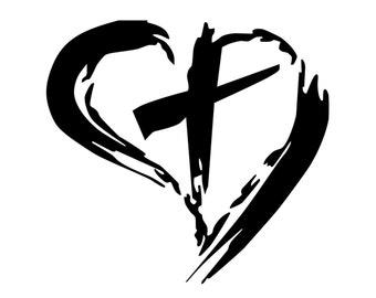 cross inside heart etsy