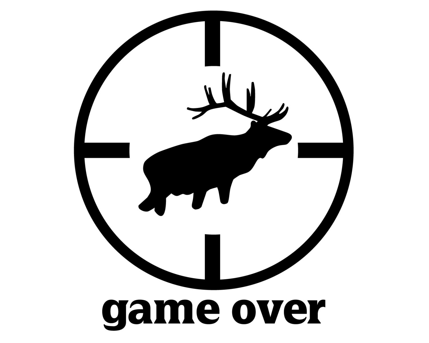 Elk hunting vinyl sticker elk hunter decal game over elk silhouette sticker