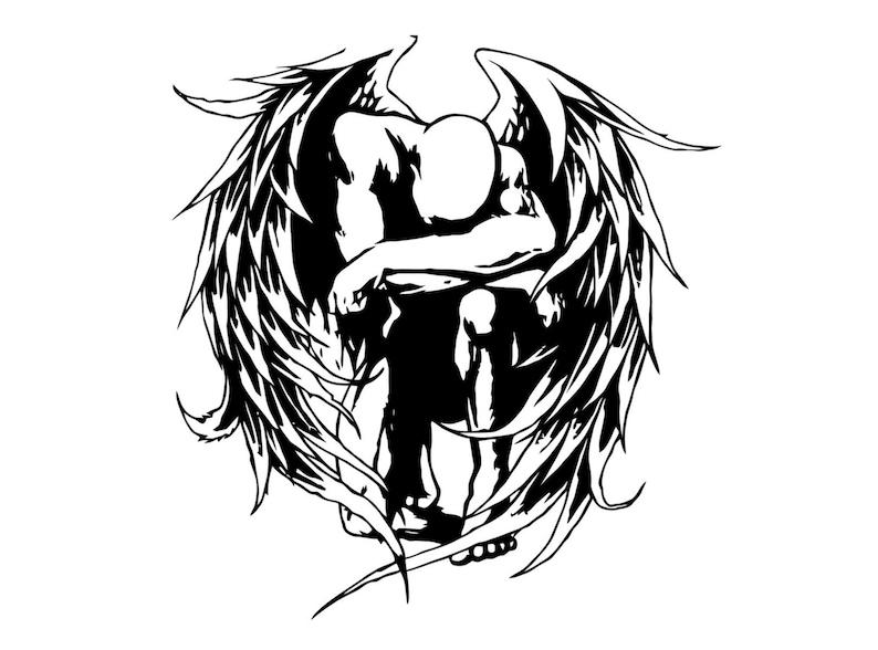 Naklejki Tribal Angel Niesamowity Styl Tatuażu Anioł Kalkomania Christian Anioł Modląc Naklejki Naklejki Anioła Stróża