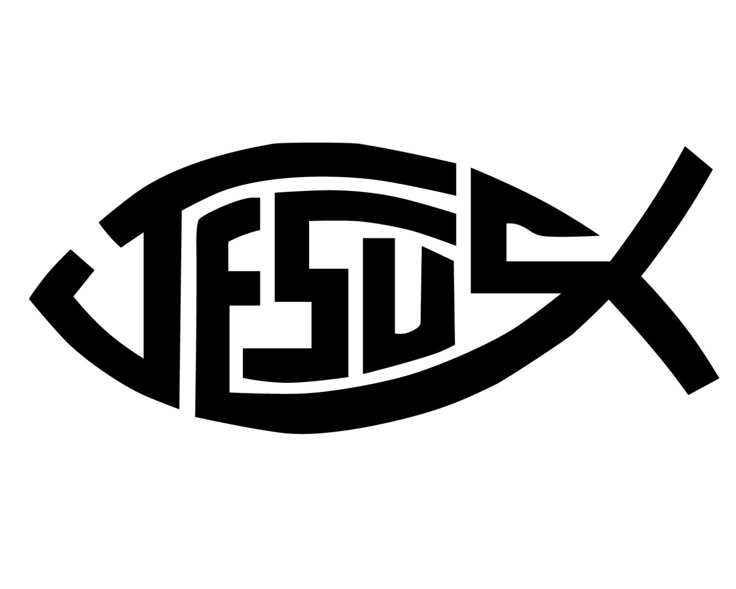 Jesus Fish Decal Jesus Fish Bumper Sticker Christian Fish Etsy