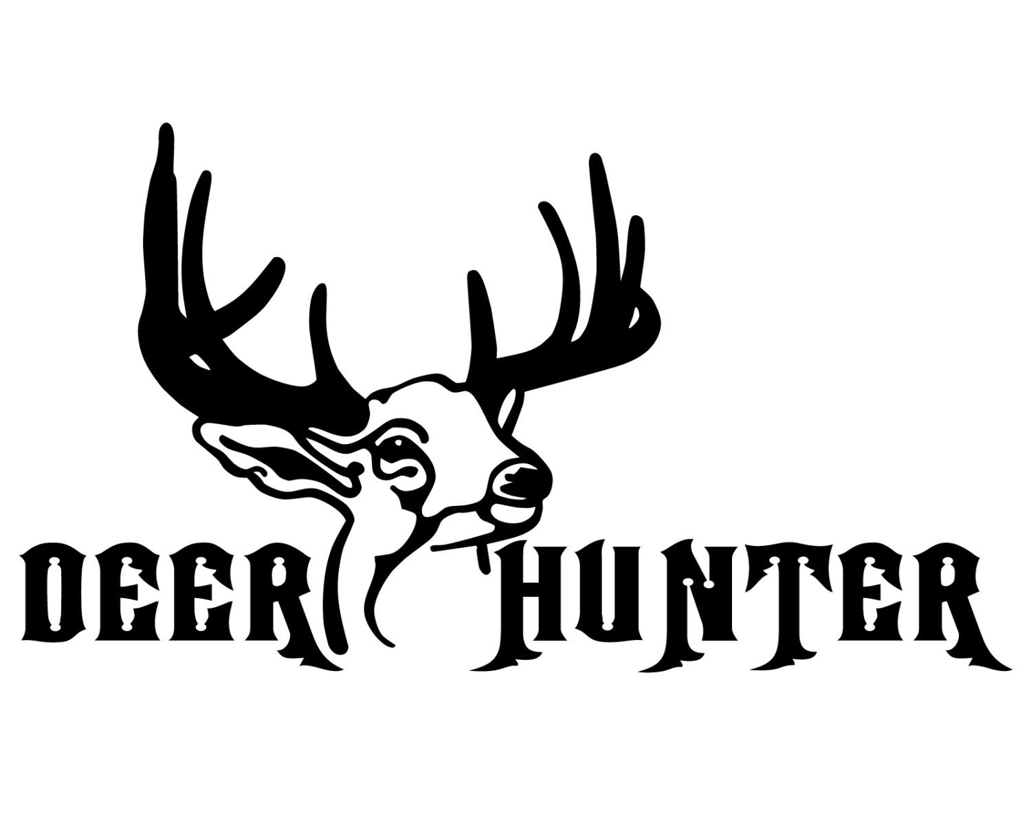 Deer hunter vinyl sticker deer hunting decal deer head silhouette