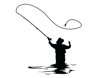 Fly Fishing Decal - Fly Fish Sticker - Outdoorsman Flyfishing Decal, Fly Fisherman Silhouette