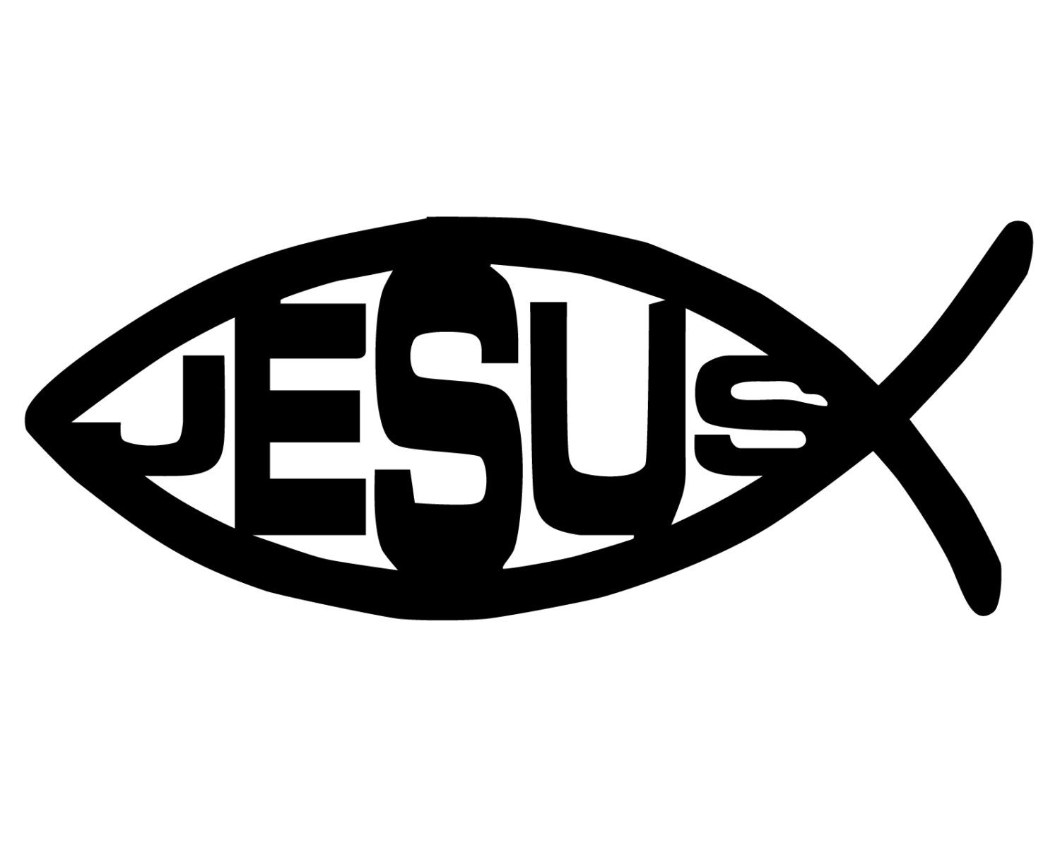 Jesus Fish Decal Jesus Fish Sticker Christian Fish Symbol Etsy