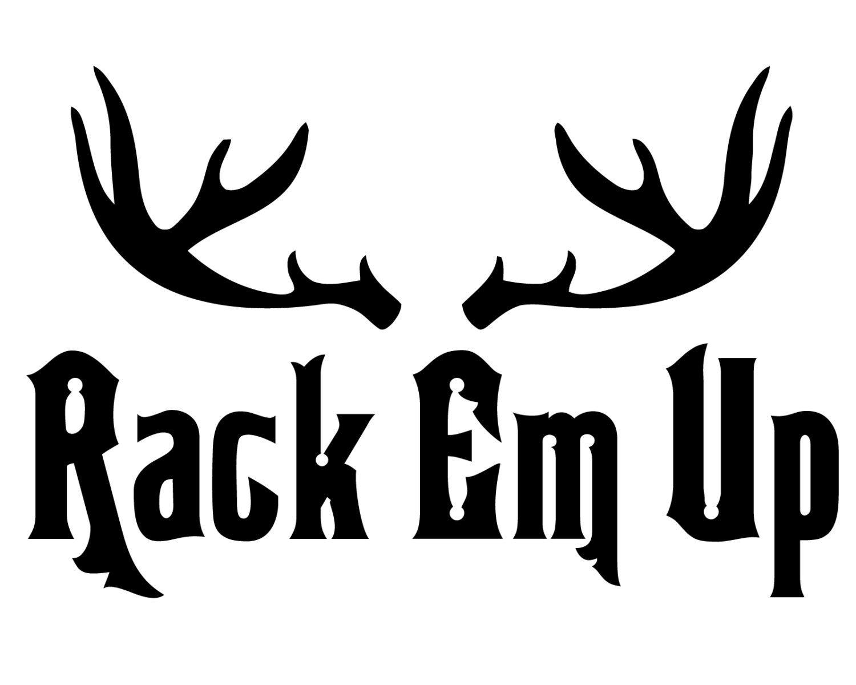 deer hunter vinyl sticker deer hunting decal rack em up