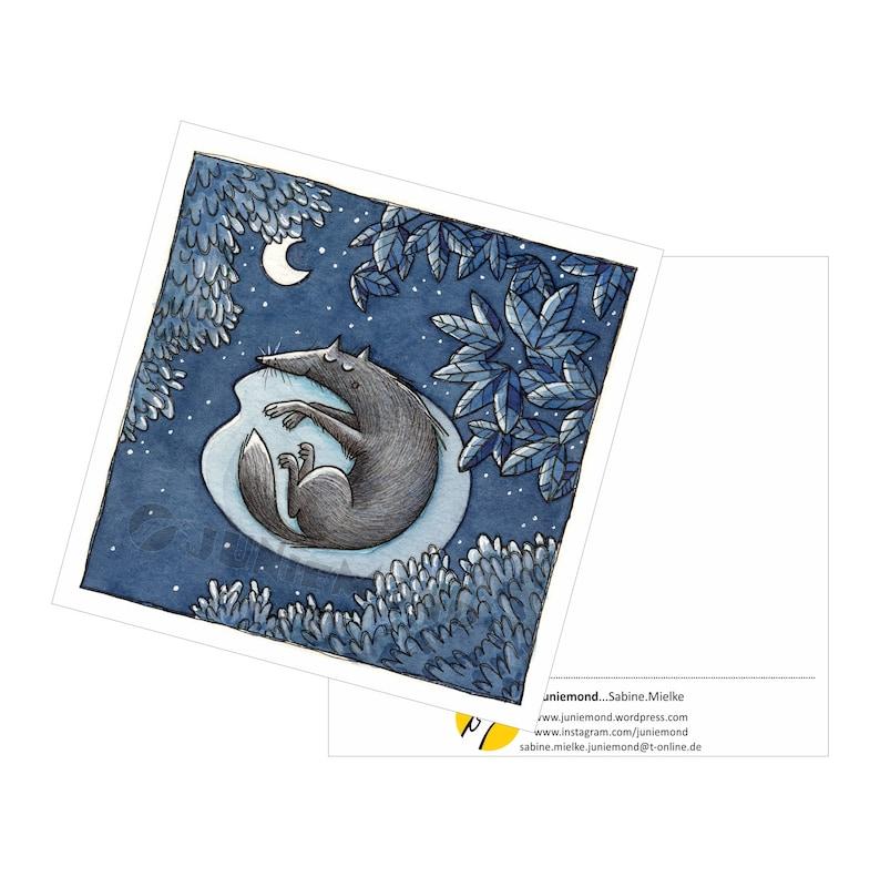 Square Postcard Moon Postcard: Night Dream Wolf Blue Calm Sleep Silence Dog