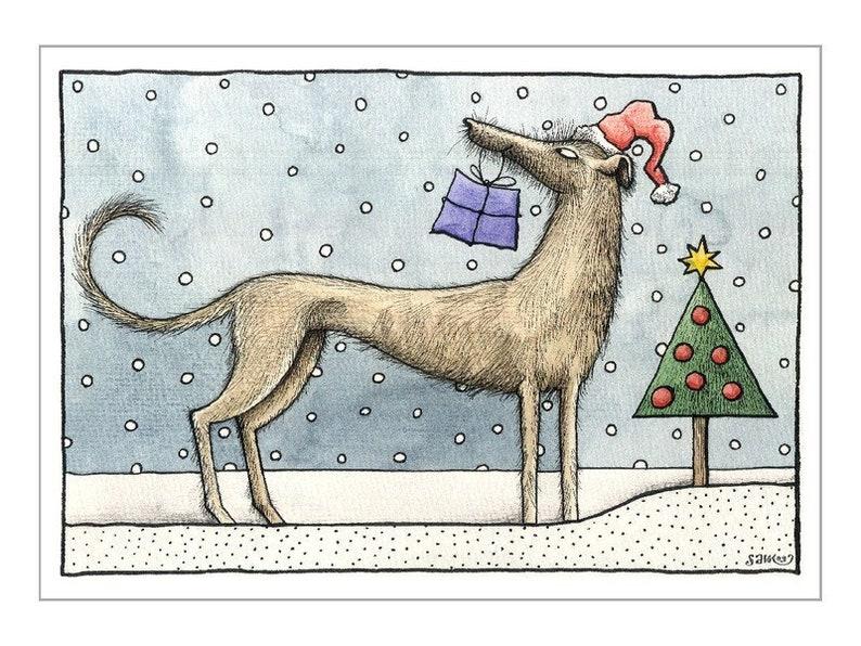 Frohe Weihnachten Irisch.1 Postkarte Frohe Weihnachten Nikolaus Weihnachtsbaum Weihnachtskarte Weihnachtsgruß Irischer Wolfshund Geschenk