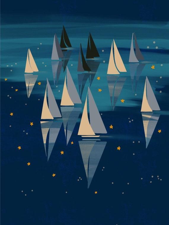 Nuit étoilée voilier manches manches voilier courtes T-Shirt unisexe a72a73