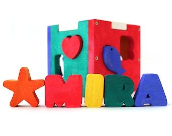 Personalized Baby Gift / Shape Sorter / Wood Shapes / Custom Wood Box / Name Puzzle / Educational toy / Eco Friendly Baby