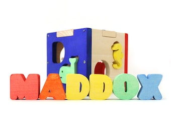 Baby Boy Gift / Baby and Toddler Toy / Personalized Baby Boy Gift / Wooden Toy / Toddler Gift / Wooden Letters for Nursery / Shape Sorter