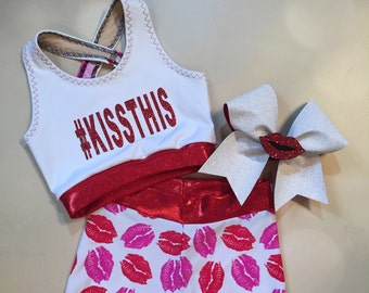 "The ""Bianca"" Girls Dancewear Kisses Crop Top sports bra, spandex shorts, and optional Matching Cheer Bow / Red Lips / Pink Lipstick"