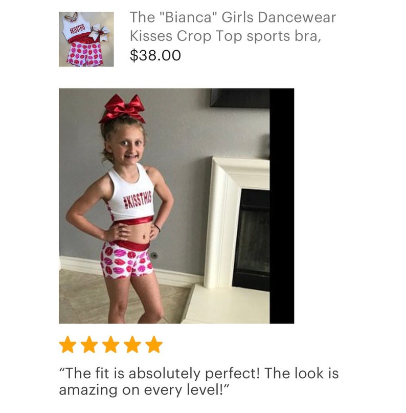 and optional Matching Cheer Bow  Red Lips  Pink Lipstick spandex shorts The Bianca Girls Dancewear Kisses Crop Top sports bra
