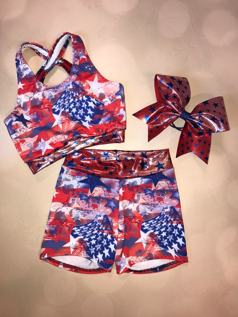 36d3202090 The Old Glory X Back Sports Bra Spandex Shorts