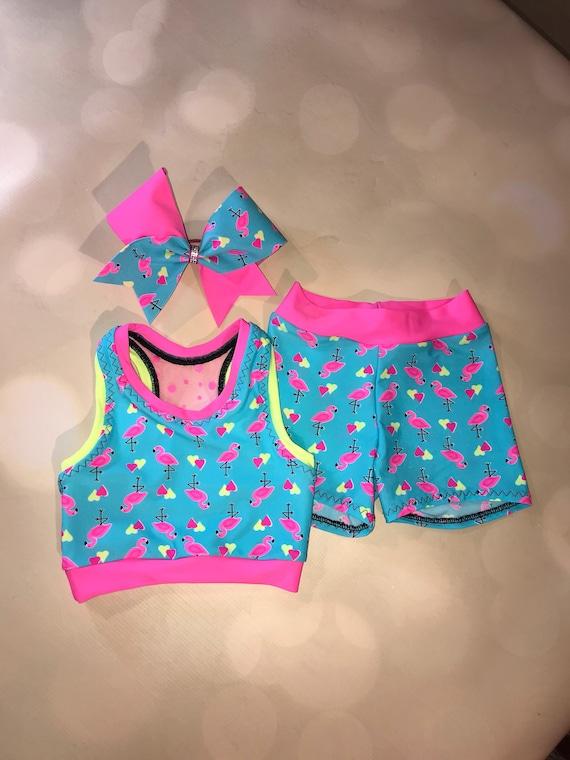 Spandex Shorts and option Cheer Bow or Scrunchie  Girls Dancewear  Practice Rainbow Unicorn Print on Black XBack Sports Bra