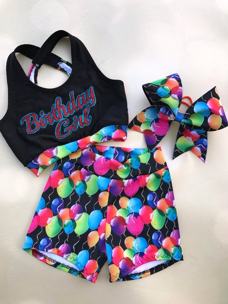 20cc7284873d2 Girls Dancewear Birthday Princess Sports Bra Shorts and