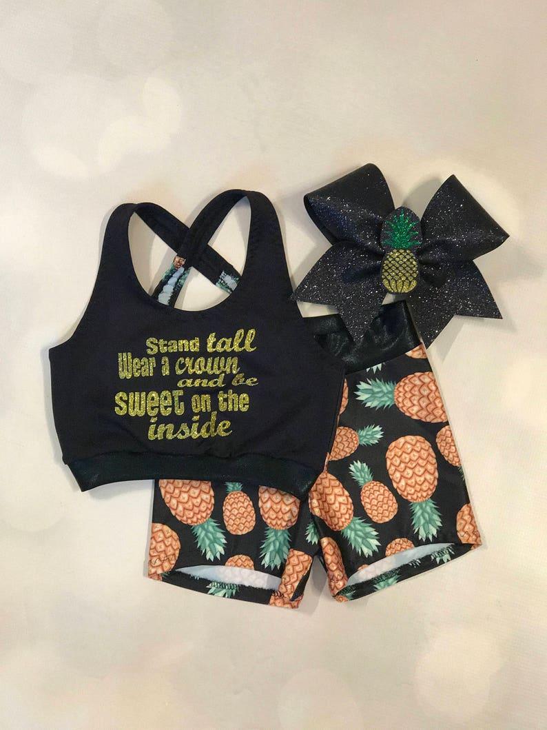 f0d4f27d4c The Pineapple Sports Bra Crop Top Spandex Shorts