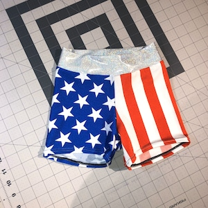 Ready to ship sale youth large Valentine shorts neon kiss cheer dance shorts