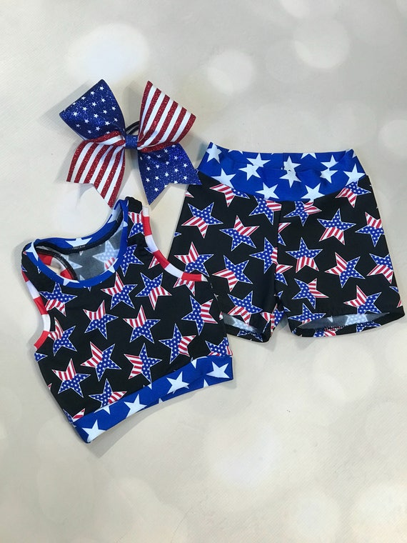 672078d22c108 The I m Proud Patriotic Star sport bra crop
