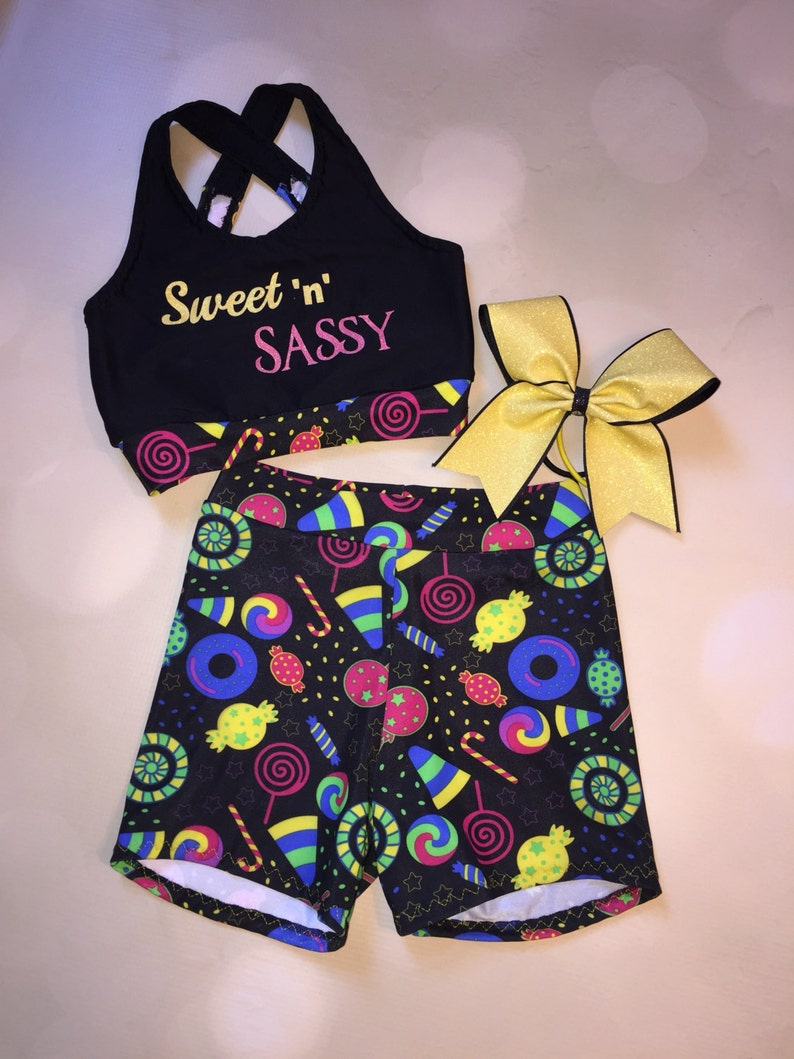 de45dcf3d4295 Sweet n Sassy Sports Bra Crop Top Shorts and Optionsl