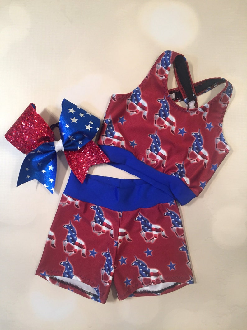 spandex shorts with optional matching Cheer Bow  4th of July  red white and blue  Dancewear The Patriotic Unicorn crop top sport bra